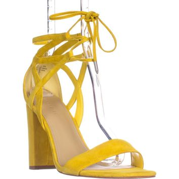 Marc Fisher Fatima Lace-Up Block-Heel Sandals, Yellow Suede, 7.5 US