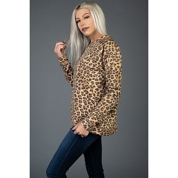 Camel Leopard Distressed Sweater