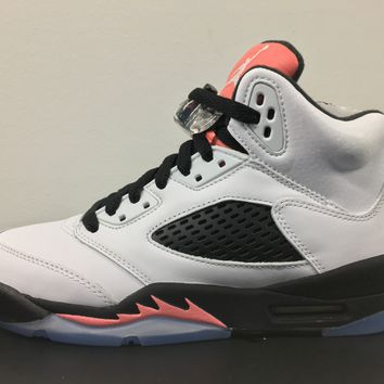 BC QIYIF Nike Air Jordan Retro 5 White Sunblush Black GG GS 440892-115