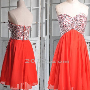 Short Red Sweetheart Beaded Prom Dresses,Chiffon Bridesmaid Dresses,Custom Made Party Grown Prom Dresses,Homecoming Dressses