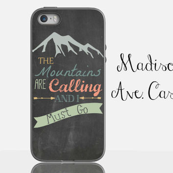 The Mountains Are Calling & I Must Go Travel Adventure Hiking Vintage Backpacking Outdoor Chalkboard iPhone Samsung Galaxy Tough Case