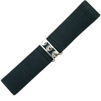 Banned Apparel Vintage Silver Retro Clasp Elastic Wide Stretch Waist Belt