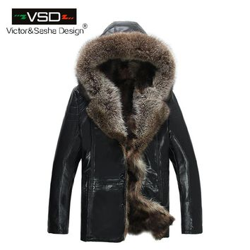 Frosty Winter Fashion men's coats fur coat leather jacket Hat Keep Warm leather jackets men