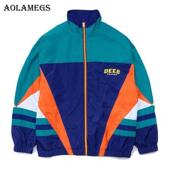 Aolamegs Jackets Men Retro Patchwork Color Jacket Tracksuit Coats Hip Hop Turn-down Collar Fashion Male Windbreaker Streetwear