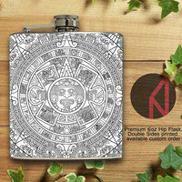 Mayan Calendar 6oz and 8oz Hip Flask
