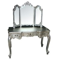 ACHICA | Silver French Dressing Table & Tri Mirror