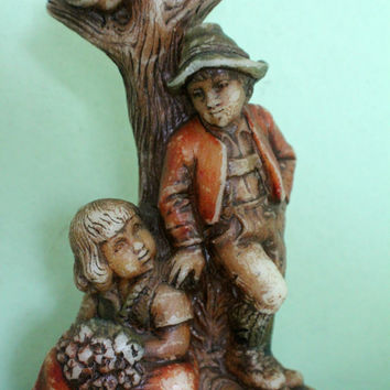 SALE! Vintage Molded Wax Boy and Girl Figurine, Figure, Childrens Statue, Sculpture by Lechner, Candle
