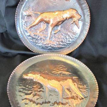 Vintage Copper plates with hunting dog * Wall decor * Rustic copper plates * sportsman