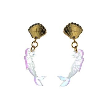 Shell and Mermaid Dangle Earrings