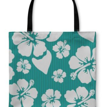 Tote Bag, Pattern With Hawaiian Hibiscus Flower