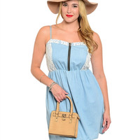Light Blue Denim Plus Size Dress (XL through XXXL)
