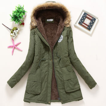2016 new Winter Womens Parka Casual Outwear Military Hooded Coat Winter Jacket Women Fur Coats Woman Clothes manteau femme