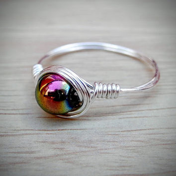 Rainbow Hematite Silver Wire Ring, Root Chakra Crystal, Bring Inner Peace, Dispel Negative Energy, Boost Confidence, Aquarius Birthstone