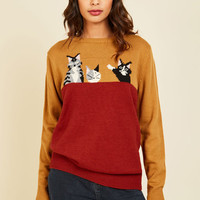 Cat's All, Folks Sweater | Mod Retro Vintage Sweaters | ModCloth.com