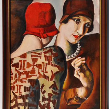 Master copy, art deco, hand made oil painting, copy after Tamara Lempicka Two friends, reproduction, original oil painting on canvas.