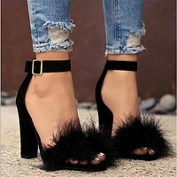 Women Plush Buckle Rough Heel Sandals Heels Shoes