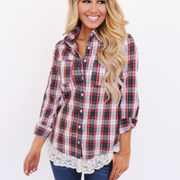 Red/Green Plaid Lace Trim Top