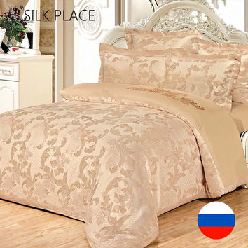SILK PLACE Jacquard Comforter Bedding Sets Designer Bedding Sets Satin Luxury Bedding Set High Quality Duvet Cover Bed Sheet