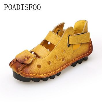POADISFOO 2017 autumn women Casual shoes yellow flats Round Toe Genuine Leather Vintag
