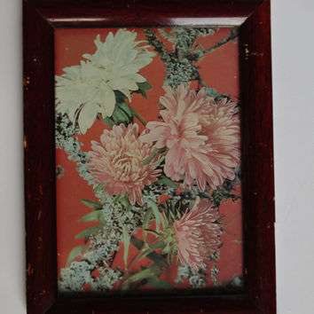Vintage flower print under glass, Picture, Litho print Framed wall hanging, Wall decoration, Cottage Chic Boho Shabby chic Rustic Home Decor