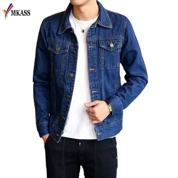MKASS Brand 2018 M-4XL Men Jean Jacket Clothing Denim Jacket Fashion Mens Jeans Jacket Thin Spring Outwear Male Cowboy