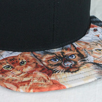 Cats Black Snapback Hat, Blank Cap, Cats All Over Print Fabric