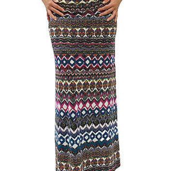 New Sexy Comfy Stretch Aztec Multi Colored Maxi Long Skirt Size S MOA832