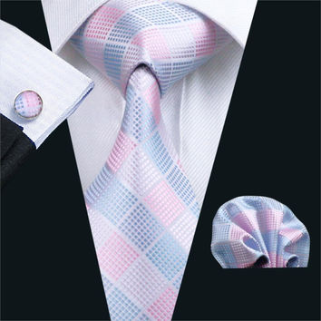 Men`s Ties Pink Plaid Gravata Silk Neck Tie Hanky Cuff links Set Ties For Men Business Wedding Party