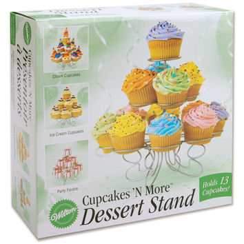 """Cupcakes 'N More Small Dessert Stand-Silver 10""""""""X9"""""""" Holds 13 Cupcakes"""