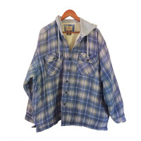 5X Flannel Jacket 90s Grunge Jacket Men Flannel Blue Flannel 90s Jacket Plaid Jacket Blue Jacket Men Jacket Hooded Jacket Sherpa Jacket