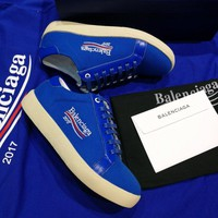 Best Online Sale 2017 New BaLenciaga Flat Shoes Embroidered Linen Shoes - Sapphire