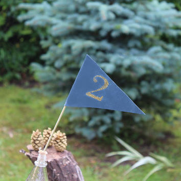 Dusty blue table numbers  gold numbers, Gold table number Pennant Flag Fancy wedding Decor. Dusty blue wedding table numbers