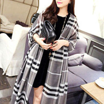 Grey Plaid Long Scarf
