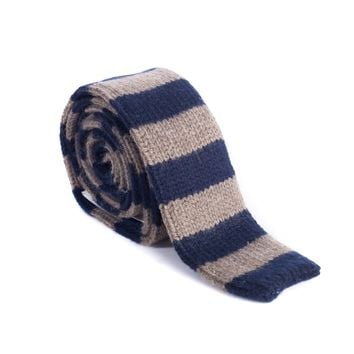 Brunello Cucinelli Cashmere Brown & Navy Striped Tie