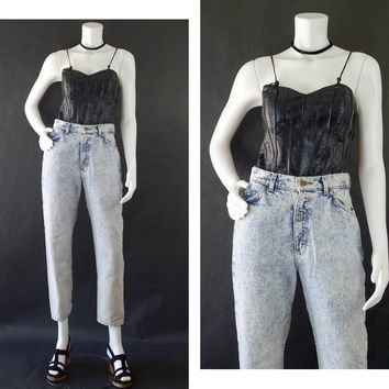 Vintage Lee Rider Jeans, 80s Denim Jeans, Acid Washed Denim, Distressed Denim Jeans, High Waisted Mom Jeans, Women's Size 8 Petite
