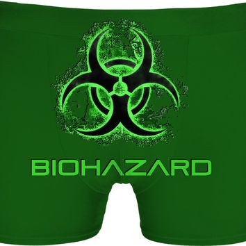 Biohazard warning green all-over-print underwear design, Toxic fallout symbol