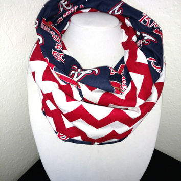 Atlanta Braves Infinity Scarf - Lightweight Cotton, jersey knit - Beautiful, baseball scarf, woman's scarf, MLB