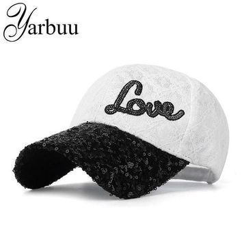 DCCKWJ7 [YARBUU]Baseball caps with Sequins Design snapback Brand cap new fashion casquette bone hat for women Female Lace sun cap