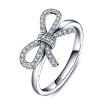925 Sterling Silver Cubic Zircon Bow Wedding Ring