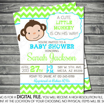 Boys Baby Shower Invitation - Monkey, Chevron, Blue, Green, Brown, Printable, Digital