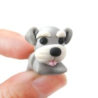 Handmade Cesky Terrier Puppy Dog Shaped Fake Gauge Polymer Clay Stud Earring