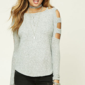 Marled Knit Cutout Top