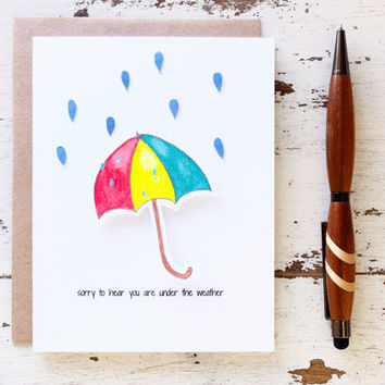 Get Well Card - 3D Card - Under The Weather - Thinking About You - Umbrella - Not Feeling Well - Sympathy Card