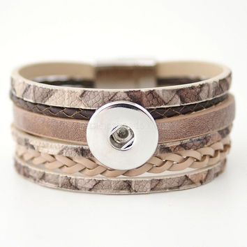 Interchangeable Jewelry New PU Leather Charm Bracelets Fit 18mm Snap Buttons Free Shipping KC0003-BR