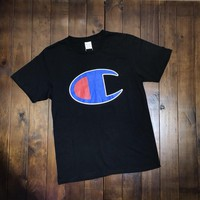 """Champion"" Unisex Simple Casual Classic Big Logo Print Couple Short Sleeve T-shirt Top Tee"
