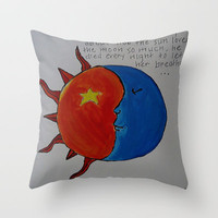 The Story About The Sun Throw Pillow by Sarah Hinds