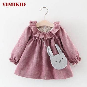 VIMIKID Baby Girls Dresses 2017 Autumn Long-sleeved Lotus Leaf Collar Pocket Doll Dress + Bag 2P