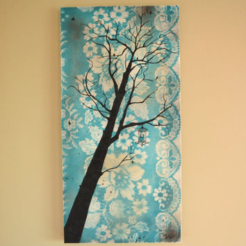 Vintage Inspired Tree Silhouette Turquoise Lace Sky with Birdcage Original Painting