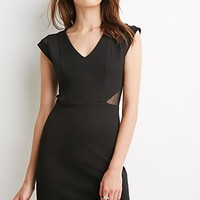 Net Mesh-Paneled Cutout Dress