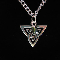 Celtic Triad Necklace with Crystal Accent by alcove927 on Etsy